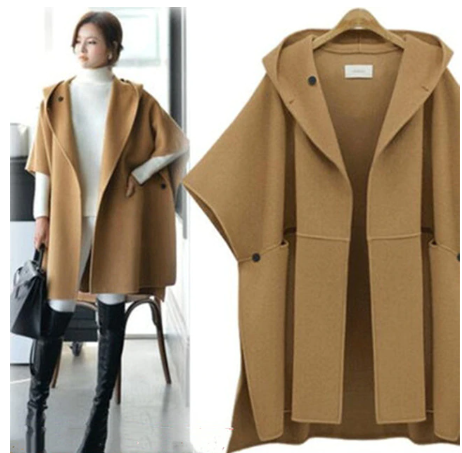2019 fashion ponchos and women's capes hooded batwing sleeves cloak woolen coat