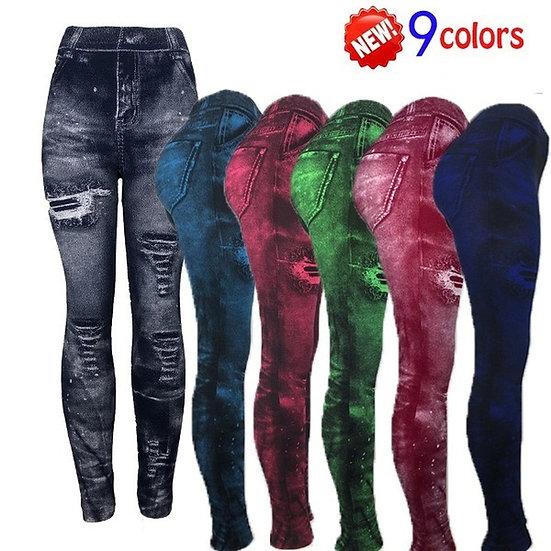 Imitation Jeans Leggings Women Pencil Pants Spring Autumn Push Up Womens Clothin