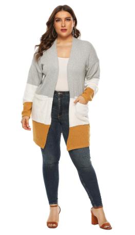 Coat Plus Size Print Long Sleeve Knitting Open Cape Casual Coat Blouse Kimono Ja