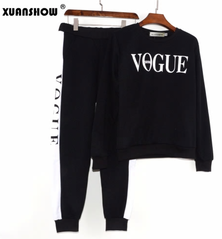 XUANSHOW Autumn Winter 2 Piece Set Women VOGUE Letters Printed Sweatshirt+Pants