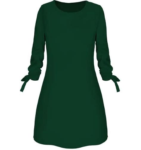 Autum Fashion Solid Color Dress Casual O-Neck Loose Dresses 3/4 Sleeve Bow Elega