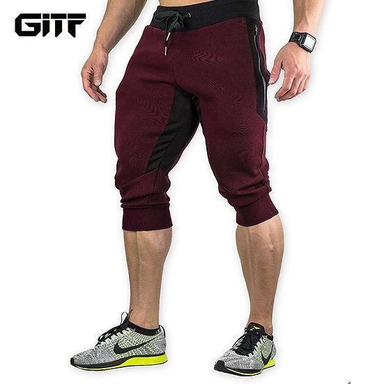 GITF Men's Sports Gym Athletic Shorts Middle Trousers Elastic Band Zipper Pocket