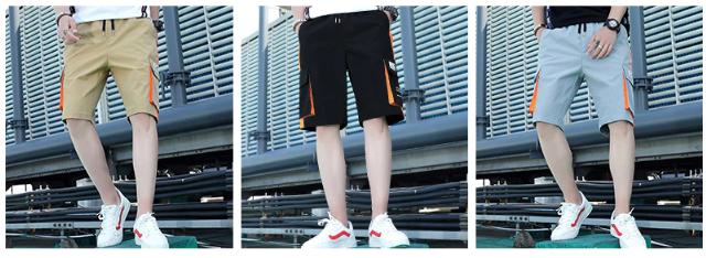 Shorts Men Big Pocket Bermuda Beach Knee-length Shorts Hip Hop Elastic Waistband