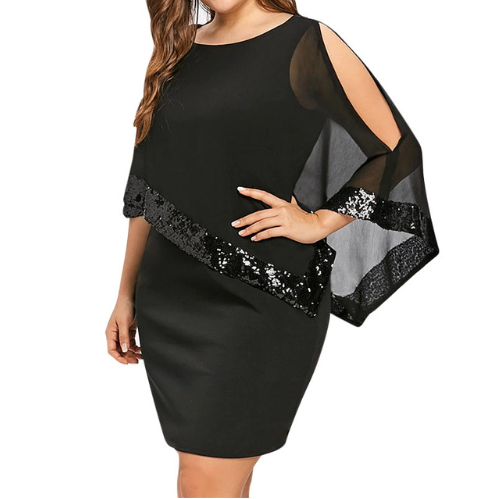 Wipalo Sexy Sequined Overlay Capelet Dress Dress O-Neck Short Sleeve Women