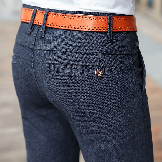 2020 New Classic Style Men's Casual Pants Business Fashion Black Blue Elastic