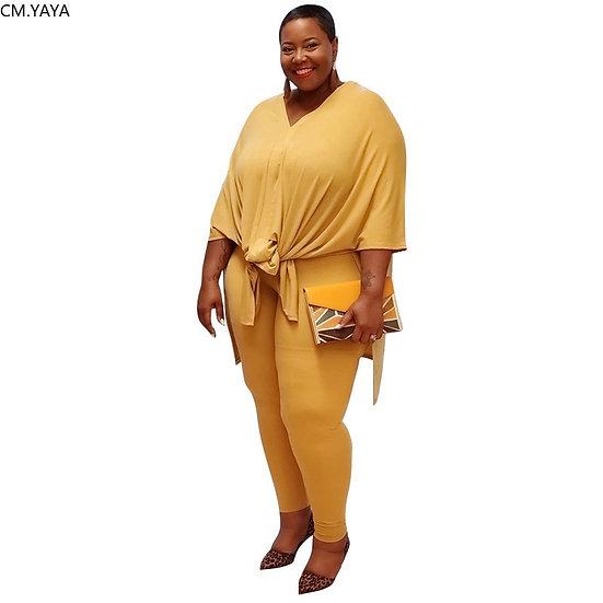 CM.YAYA Women Plus Size S-5xl Split Side Loose Tee Tops Pants Suit Active Wear
