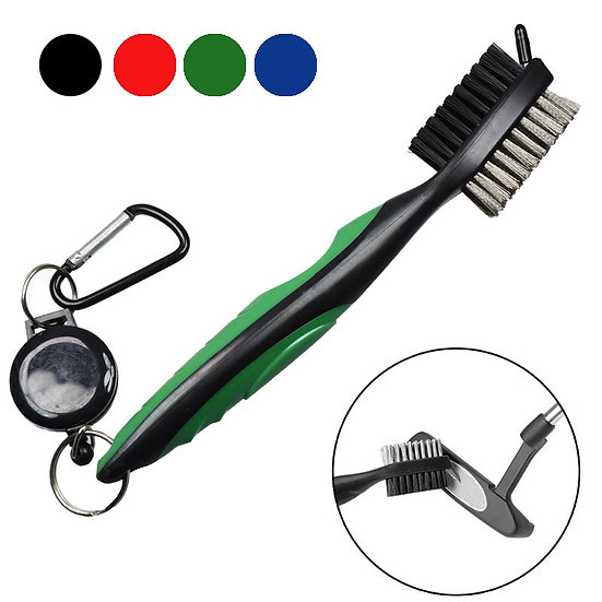 Golf Club Brush Groove Cleaner With Retractable Zip-Line and Aluminum Carabiner