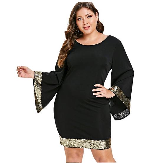 Wipalo Women Plus Size Sequins Elegant Party Dress Bell Flare Sleeve Black Night