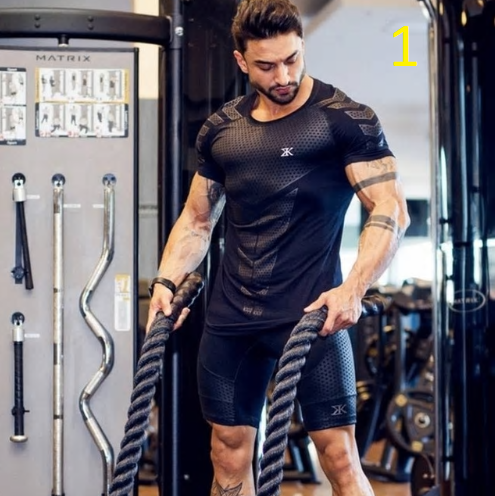 2019 New Mens Compression Skinny T-shirt Gyms Fitness Bodybuilding t shirt Male