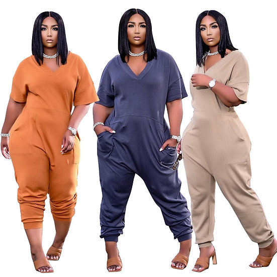 Plus Size Women's Clothing Solid Color Fashion Sexy v Neck Personality Pocket
