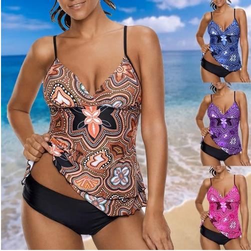 Plus Size Biquini Tankini set Women Print Beachwear Sexy Big Size XXXXXL Sw