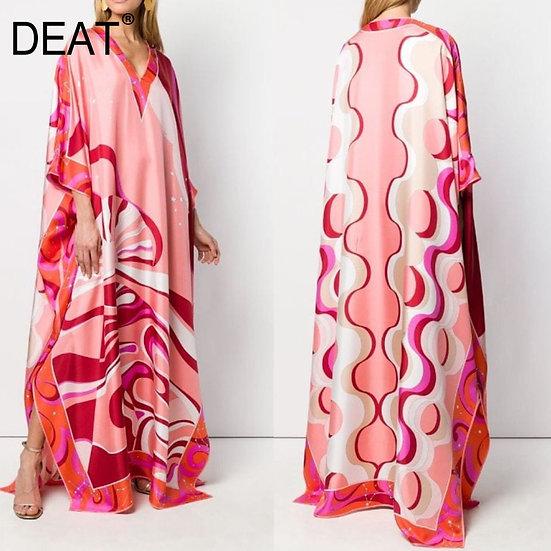 Bohemian Printed Over Size V-Neck Batwing Sleeve Star Dress Women Elastic Silk