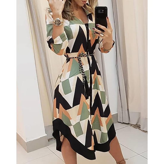 2021 New Casual Rhombus Women's Dress Sashes Button Long Sleeve Ladies Spring