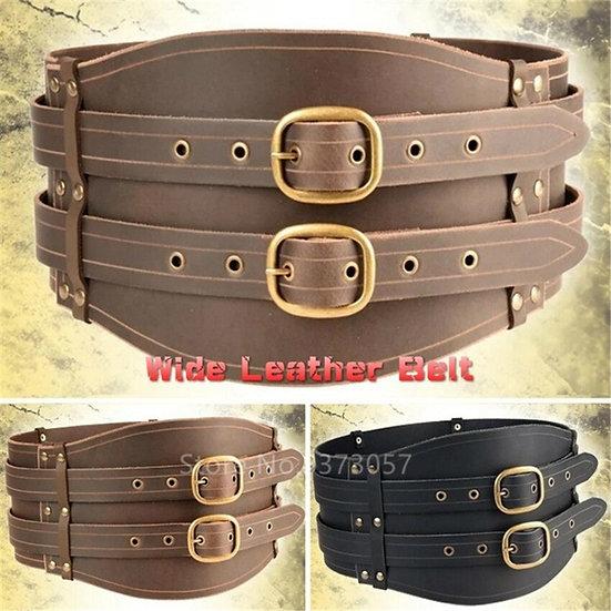 Medieval Brown Black Celtic Men Knight Leather Large Belt Women Vintage Viking