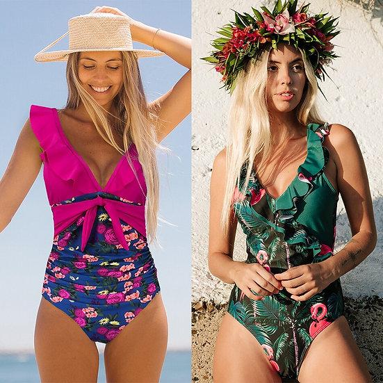 2020 Swimsuit Women One Piece Monokini Vintage Swimwear Slimming Bodysuit Female