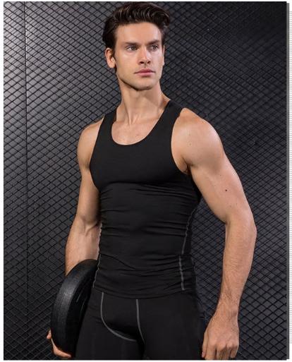 New 2019 Men Running Vest Sport Fitness Compression Sleeveless Tank Tops Fitness
