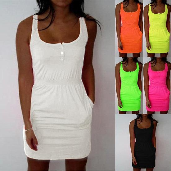 2020 New Women Summer Sleeveless Mini Beach Dress Plus Size Club Wear Knee Lengt