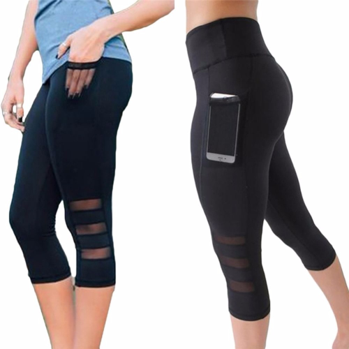 2019 Calf-length Pants Capri Pant Sport leggings Women Fitness Yoga Gym High Wai