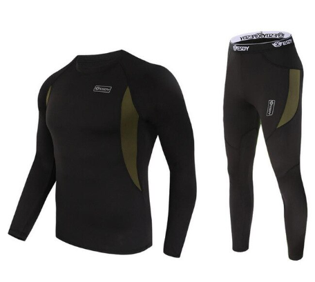 winter new men thermal underwear sets compression fleece sweat quick drying ther