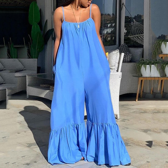 2021 New Loose Jumpsuits for Women Blue Spaghetti Strap Flare Pants Fashion High