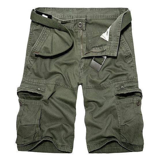 2020 Mens Military Cargo Shorts Summer Army Green Cotton Shorts Men Loose Multi-