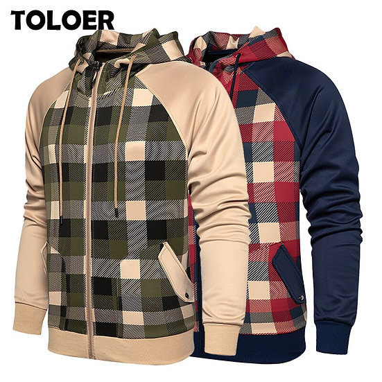 New Jacket Men Fashion Casual Plaid Loose Mens Jacket Sportswear Outdoors Bomber