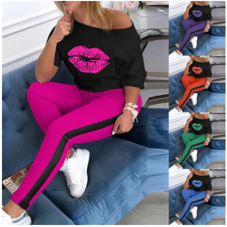 Women Lip Print Tracksuit sets Lady 2020 Summer sexy off shoulder 2pcs set Elega