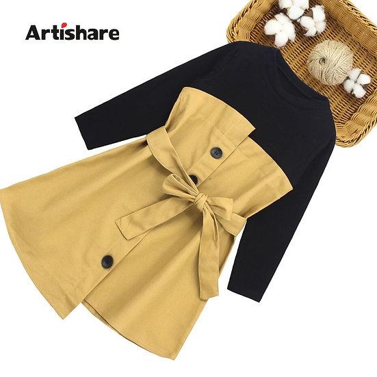 Teens Girls Dress Patchwork Dress for Girls Long Sleeve Dress Kids 6 8 10 12 14