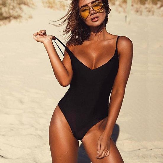 2021 Women Swimwear Sexy High Cut One Piece Swimsuit Backless Swim Suit Black
