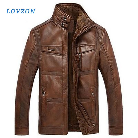 LOVZON Leather Jacket Men Coats 5XL Brand High Quality PU Outerwear Men Business