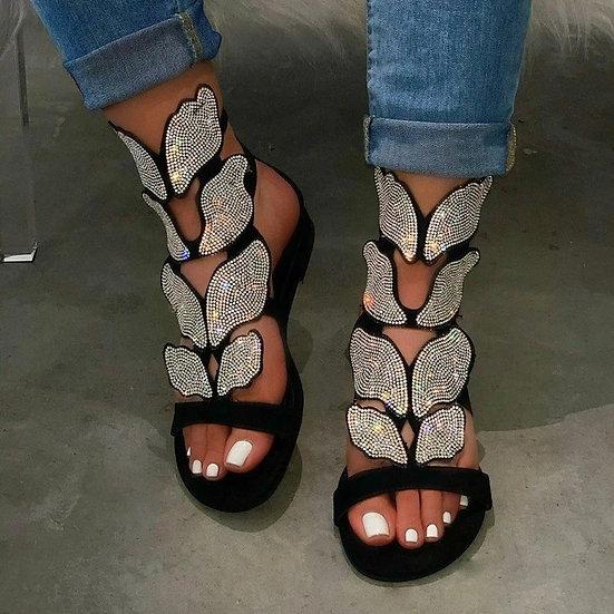 KAMUCC Rhinestone Women Summer New Soft-Slip Non-Slip Sandals Foam Sole Durable