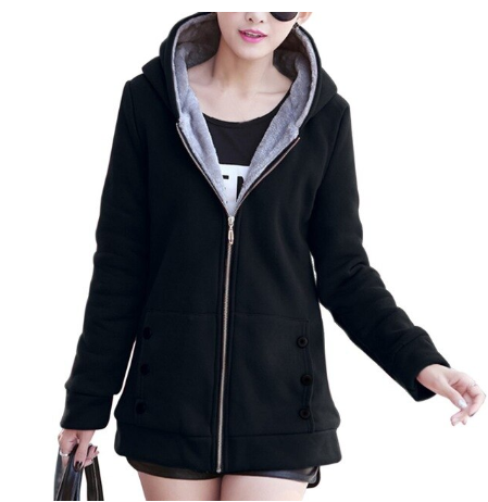 2020 Autumn Winter Casual Warm Thick Hoodies Fashion Fleece Zipper Women Hooded