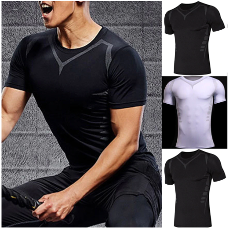 Men's Solid Color Fitness Quick Dry Short Sleeve Shirt Home Yoga Tights Gym Trai