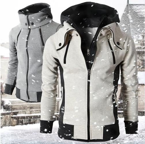 New Men's Hoodie 2020 Casual Solid Long Sleeve Mens Turtleneck Hoodies Slim Zipp