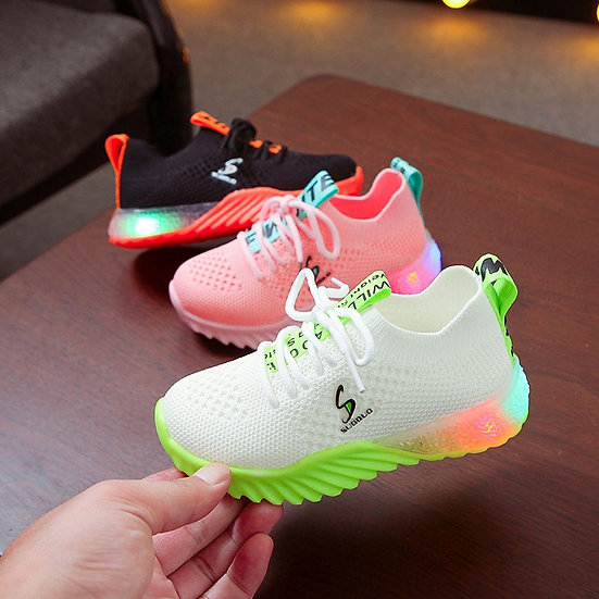 New Children Luminous Shoes Boys Girls Letter Sport Run Sneakers Casual Shoes