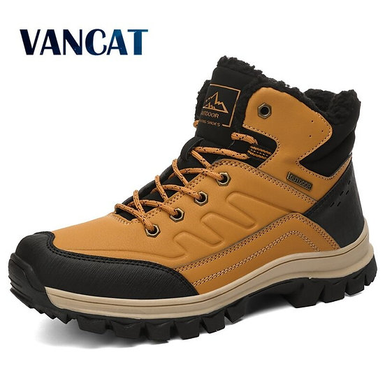 Brand Winter Men Snow Boots Warm Plush Men's Boots Waterproof Leather Ankle Boot