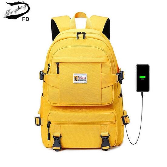 Fengdong Fashion Yellow Backpack Children School Bags for Girls Waterproof