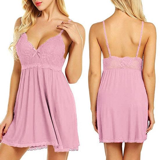 Women v Neck Lace Stitching Nightdress Summer Sexy Plus Size 6XL Sleeveless