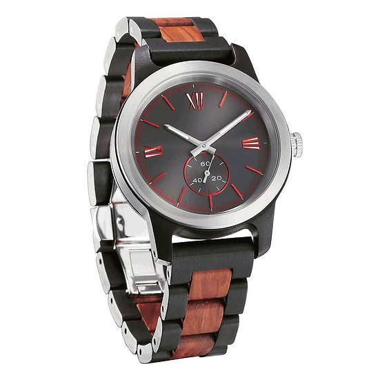 Men's Handcrafted Engraving Ebony & Rose Wood Watch - Best Gift Idea!