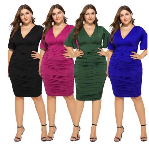 Summer Women V-Neck Short Sleeve 4XL Plus Size Midi Dress Fashion Casual Big Siz