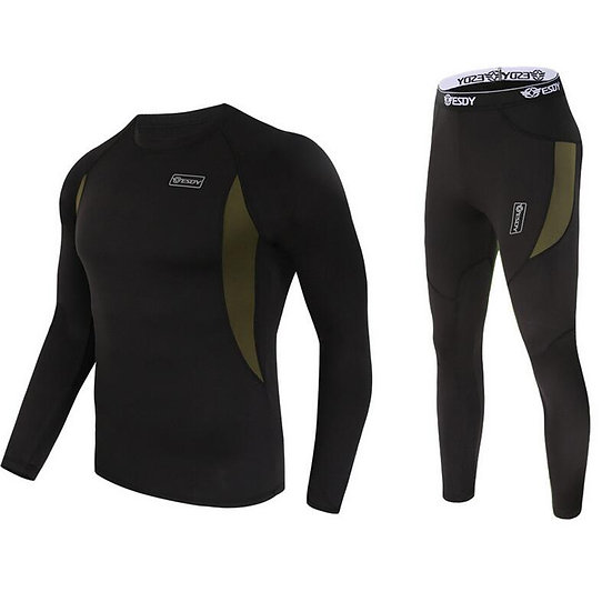 Winter New Men Thermal Underwear Sets Compression Fleece Sweat Quick Drying