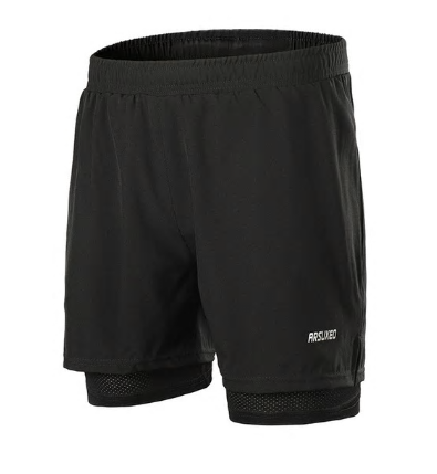ARSUXEO 2 In 1 Men Running Shorts Reflective Quick Dry Compression Jogging Gym F