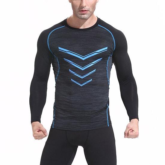 Quick Dry Sport Shirt Men Slim Fit Compression Top Long  Sleeve V-Neck Men's Run