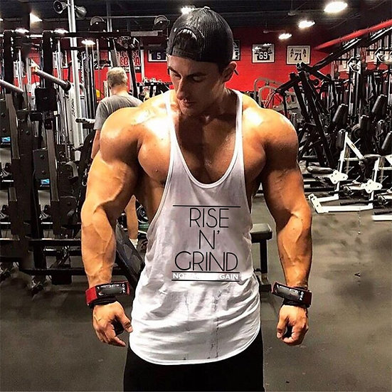 Bodybuilding Tank Top Men Fitness Clothing Print Cotton O-Neck Sports Sleeveless