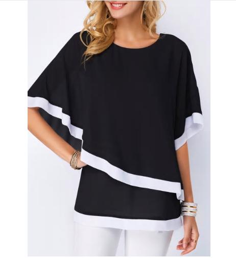Casual Plus Size S-5XL Chiffon Patchwork Irregular Work Wear Shirts Batwing O Ne