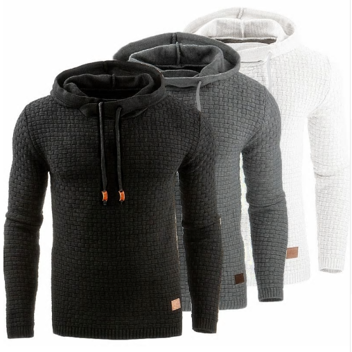Hooded Mens Sweater Autumn Winter 2018 Long Sleeve Solid Color Tracksuit Pullove