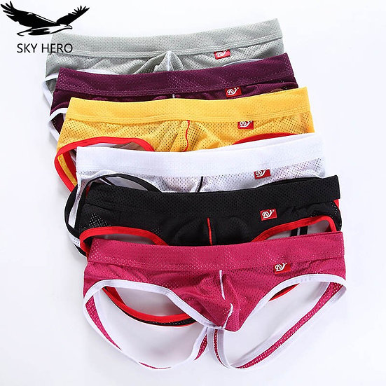 4pcs/Lot Sexy Gay Underwear Men Transparent Jockstrap Thongs G Strings Panties