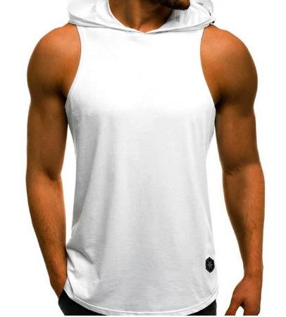 2020 Men's Fashion Hooded Tank Tops Hoodie Sleeveless Tops Male Bodybuilding Wor