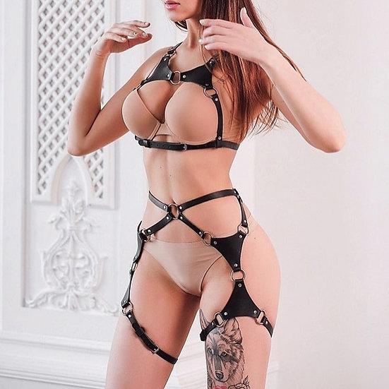 Sexy Leather Harness Women Set Bra Body Bondage Strap Garter Belt Bdsm Sex