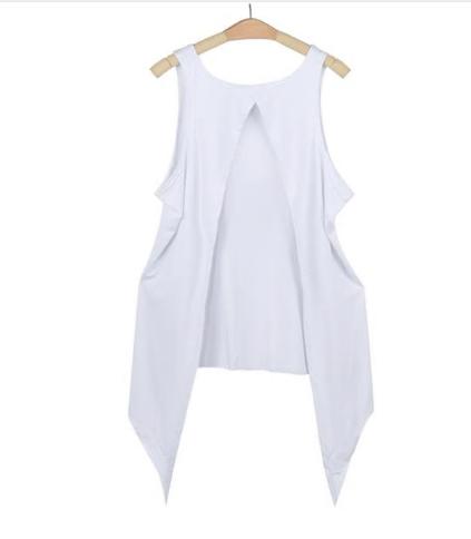 Summer Tank Tops for Women Casual Irregular Shirt Back Split Sleeveless T Shirt